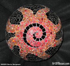 Mosaic Art Gallery   LE SOLEILGarden Ball, Black & clear tempered glass, millefiori, glass ...