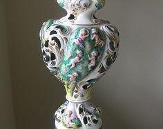 Stunning Italian Capodimonte Cherub Table Lamp-White Gold and Green Porcelain Cherub Lamp -Paris Apartment-Italy-Home Decor