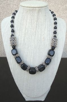 Black Agate Black Jasper and Silver Necklace by LolasCustomJewelry, $78.00