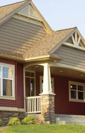 house siding colors w/the stone, our bricks maybe a little darker then this stone (might work) Siding Colors For Houses, Exterior House Colors, Exterior Paint, Exterior Design, Siding Options, Red Houses, Craftsman Exterior, House Siding, House Front