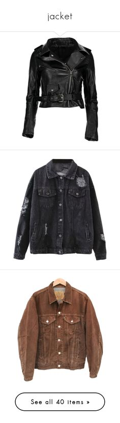 """""""jacket"""" by kitten-tears ❤ liked on Polyvore featuring outerwear, jackets, leatherette jacket, zip up jackets, motorcycle jacket, rider jacket, pleather jacket, zaful, distressed denim jacket and coats & jackets"""