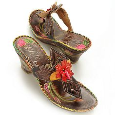 Corkys Elite Hand-Painted Leather Slip-on Flower Thong Sandals ShopHQ.com
