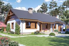 TOP10: Projekty domów parterowych do 100 m² - JakBudowac.pl Dream House Interior, Dream Home Design, House Design, Danish House, Small House Exteriors, Modern Lake House, 100 M2, Rural House, Exterior Paint Colors For House