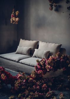 Moody vibes by Design Tales featuring bold statement florals by Mary Lennox Go Green, Ikea Soderhamn, Söderhamn Sofa, Designers Guild, Linen Fabric, Teal Blue, Loose Fit, Florals, March