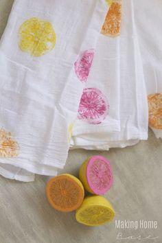 DIY Painted Tea Towel – Colorful Citrus Stamped