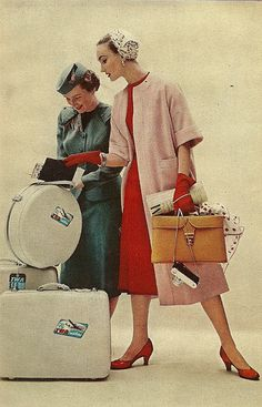 1954 Charm Magazine -dressing up to travel, well that's gone away never to be seen again.
