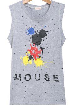 Grey Sleeveless Hollow Abstract Pain Splatter Mickey Mouse Print Vest Sleeveless top - Sheinside.com $13.33