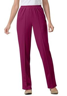 Pants in wrinkle & stain-resistant knit by Only Necessities®   Plus Size Jeans & Pants   Woman Within #WWFallContest