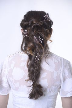 Rose gold headpiece rose gold hair pins bridesmaid hair