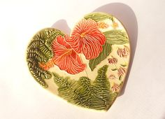 TROPICAL GARDEN DISH Handmade Heart shaped by FaithAnnOriginals