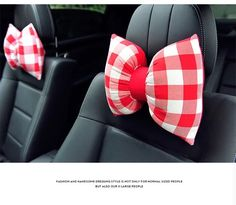 Bow Shaped Car Seat Headrest Pillow - Red and White Plaid Check - Carsoda - 1