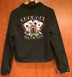 ☀Lucky 13 Lady Luck Women's☀Jacket Embroidered Sz M Quilted Zip Skull Poker Dice  | eBay