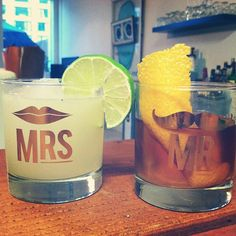 these are adorable for a couples shower or stock the bar party for the future bride and groom