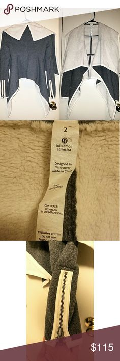 Lululemon Presence of Mind fleece wrap jacket Lululemon presence of mind size 2 non stretch fleece wrap, open front, asymmetrical most excellent pre owned, heathered gray with off white trims and fleece, zip cuffs, very cozy wrap from lulu! lululemon athletica Jackets & Coats