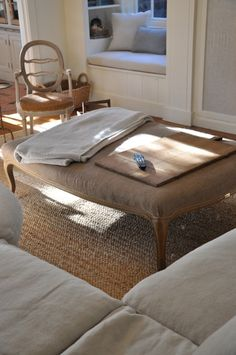 furniture re-covered with burlap or makeover oversized coffee table add foam & fabric reupholster, slipcover style footstool ottoman; Upcycle, Recycle, Salvage, diy, thrift, flea, repurpose, refashion!  For vintage ideas and goods shop at Estate ReSale & ReDesign, Bonita Springs, FL