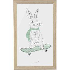 Affiche Lapin en skate-board - Bloomingville