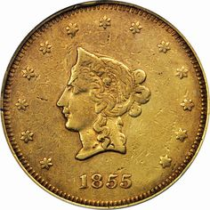 Private Gold Coins of the United States 1855 California Gold 20 Dollars Wass and Molitor & Co.
