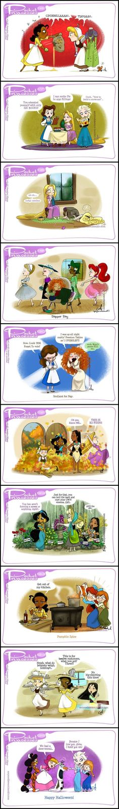 Pocket Princesses (Part by Amy Mebberson lol the last one Disney Pixar, Walt Disney, Cute Disney, Disney Dream, Disney Girls, Disney Cartoons, Disney And Dreamworks, Disney Magic, Funny Disney