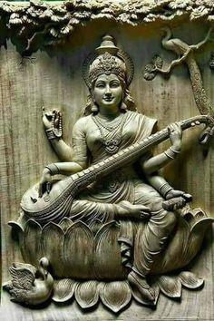 Saraswati - Goddess of Knowledge Shiva Art, Ganesha Art, Krishna Art, Hindu Art, Saraswati Statue, Saraswati Goddess, Goddess Art, Mural Painting, Mural Art