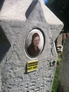 Many of the markers at Jewish Waldheim cemetery are tipping over at dangerous angles. Warning signs are affixed to many. (Graveyards of Chicago, Day Cemetery, Serenity, Places To Visit, Chicago, Grave Markers, The Incredibles, Graveyards, Warning Signs, Angles