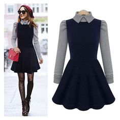 New Women's Doll Collar Dress Slim Autumn Winter Long Sleeve Knit... ❤ liked on Polyvore featuring dresses, babydoll dress, blue babydoll dress, long sleeve dresses, skater dresses and long sleeve babydoll dress