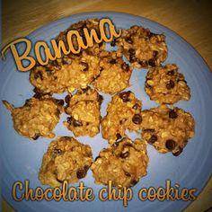 Banana chocolate chip cookies, healthy and yummy