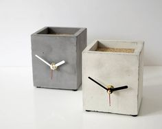 Items similar to Concrete clock Cube clock business card holder Silent mechanism Unique cubic table clock Desk clock loft interior birthday gift popular item on Etsy Cement Art, Concrete Crafts, Concrete Art, Concrete Projects, Concrete Design, Grey Clocks, Loft Interiors, Concrete Furniture, Diy Clock