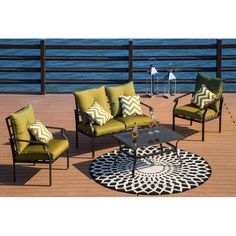 Alcott Hill Gustavson 4 Piece Sofa Seating Group with Cushions Cushion Colour: Green/White Outdoor Sofa, Outdoor Spaces, Outdoor Decor, Outdoor Ideas, Backyard Ideas, Indoor Outdoor, Outdoor Living, Wicker Furniture, Outdoor Furniture Sets