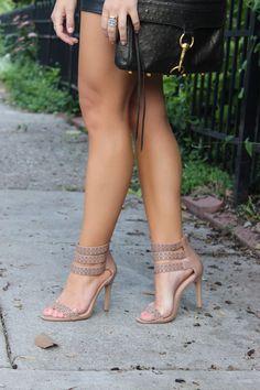 'Abina' Nude Sandal , Rebecca Minkoff Bag, H&M Shorts,