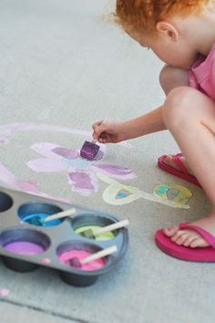 DIY sidewalk paint - cornstarch, water, & food coloring; then put the paint in an old muffin tin & use foam brushes