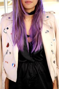 Electric Amethyst from Manic Panic Purple Hair Color Mermaid Hair Motorcycle Jacket DEZZAL Hair Color Purple, Hair Colors, Manic Panic Purple, Mermaid Hair, Chic Outfits, Alexander Mcqueen Scarf, Motorcycle Jacket, Amethyst, Electric