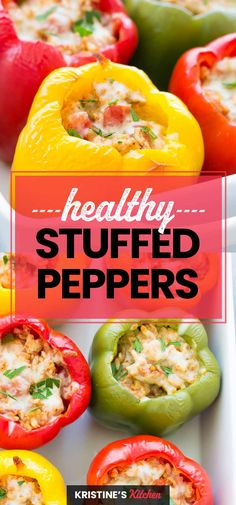 Healthy Stuffed Peppers Recipe, made with ground turkey, rice, Italian seasonings and cheese. This easy stuffed peppers recipe is a family dinner favorite! #stuffedpeppers #turkey #healthyrecipes Rice Recipes For Lunch, Clean Eating Recipes, Easy Dinner Recipes, Healthy Dinner Recipes, Easy Meals, Dinner Ideas, Skinny Recipes, Easy Recipes, Turkey Recipes
