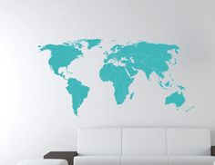 World map decal. 49 W. Wall Decal. Wall Sticker.. $38.00 & Large World Map Nursery Wall Decal - Baby Nursery Wall Decal - 7 ...