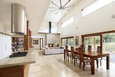 Open plan kitchen, dining & lounge room