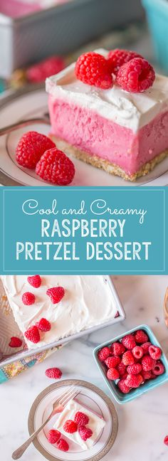 A gorgeous raspberry sherbet dessert with a pretzel crust and a homemade whipped topping! Perfect for summertime get togethers! Raspberry Pretzel Desserts, Raspberry Cookies, Raspberry Recipes, Frozen Desserts, Summer Desserts, Easy Desserts, Cheesecake Strawberries, Raspberries, Dessert Simple