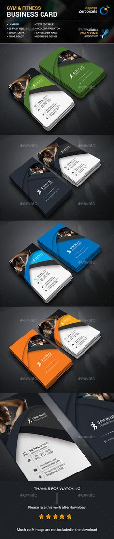 Gym Fitness Business Card — Photoshop PSD #gym #premium • Available here → https://graphicriver.net/item/gym-fitness-business-card/17469304?ref=pxcr