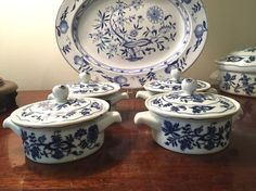 Blue Danube Covered Ramekins Blue and White by SouthernLadyEstates