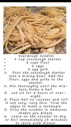 Sourdough Bread Starter, Sourdough Recipes, Bread Recipes, Real Food Recipes, Starter Recipes, Cooking Recipes, Sourdough Pasta Recipe, Sourdough Biscuits, Noodle Recipes