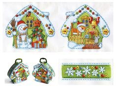 Ginger House, Craft Patterns, Illustrators, Pot Holders, Embroidery, Anul Nou, Christmas, Snow, Paper Envelopes