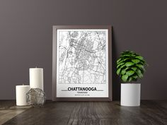 Excited to share the latest addition to my #etsy shop: Chattanooga city map print, Minimalistic wall art poster, Tennessee gifts, Birthday Gift, For father, Father Black And White Wall Art, Black And White City, Black And White Posters, Map Wall Art, Art Mural, Map Art, Artwork Prints, Poster Prints, Art Posters