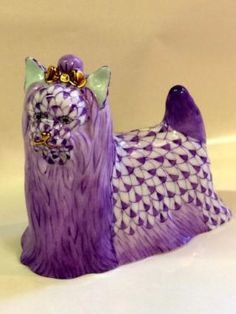 Rare Purple Herend Porcelain Yorkshire Terrier $315 Dallas Herend Porcelain And Vintage Decor Dealer #25 Lucas Street Antique Mall 2023 L...