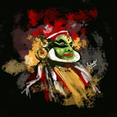 Kathakali - Kathakali (Malayalam: കഥകളി, kathakaḷi) is a stylized classical Indian dance-drama note - Dance Paintings, Music Painting, Indian Art Paintings, Music Artwork, Oil Paintings, Painting Art, Painting Tips, Abstract Paintings, Watercolor Painting