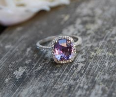 Reserved 2.6ct Cushion Plum color change sapphire -- so perfect <3