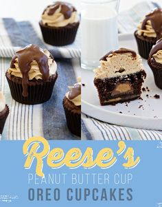 Peanut Butter Cup Oreo Cupcakes with Peanut Butter Frosting and Chocolate Glaze