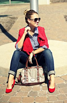#streetstyle red heels and jeans