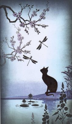 Cat looking at flying things near pond with over hanging braches. Lavinia stamps and techniques are awesome
