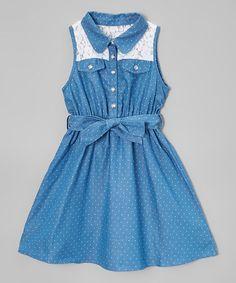 This Blue Polka Dot A-Line Dress - Infant, Toddler & Girls is perfect! #zulilyfinds