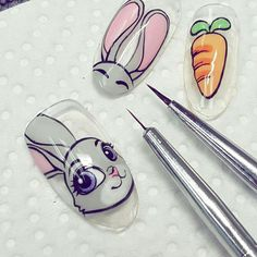 ☺ Cute Nail Art, Cute Nails, Nail Art Dessin, Acrylic Nails, Gel Nails, Nail Art Courses, Nail Drawing, Bunny Nails, Animal Nail Art