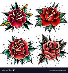 set of four oldschool tattoo roses on a white background. Download a Free Preview or High Quality Adobe Illustrator Ai, EPS, PDF and High Resolution JPEG versions.
