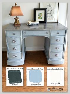 Colorways with Leslie Stocker » Kneehole Desk. Annie Sloan Chalk Paint®. Louis Blue. Pure White. Graphite. Rub & Buff Silver. #anniesloanpaintedfurniture